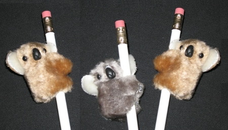 "NEW 3 pc ""KOALAS Gray & Beige"" Pencil Huggers Furry Animal Birthday Party Favors Stethoscope Clip On Decoration"