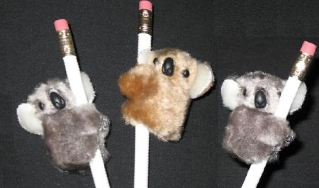 "NEW 3 pc /""KOALAS Gray /& Beige/"" Pencil Huggers Furry Animal Birthday Party Favors"