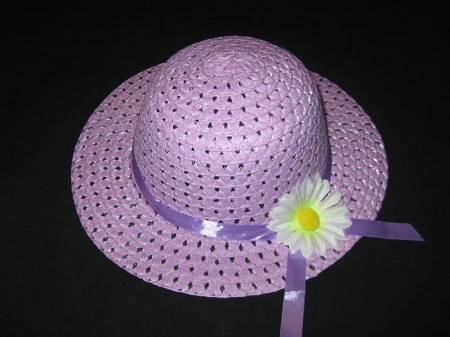 "NEW ""PURPLE DAISY"" Dress Up Party Girls Easter Straw Hat Clothes Toddler Tea Party"