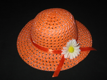 "NEW ""ORANGE DAISY"" Dress Up Party Girls Easter Straw Hat Clothes Toddler Tea Party"