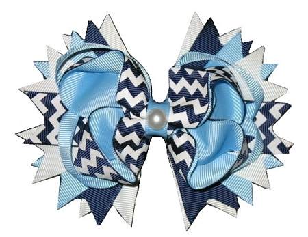 "NEW ""NAVY CHEVRON Pearl"" Hairbow Alligator Clips Girls Ribbon Hair Bows Uniform 5 Inches Boutique School"