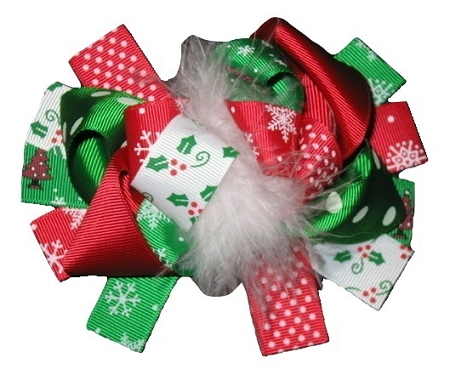 "NEW ""FESTIVE CHRISTMAS"" Fur Hairbow Alligator Clips Girls Ribbon Hair Bows 5.5 Inches Holiday Party Over the Top"