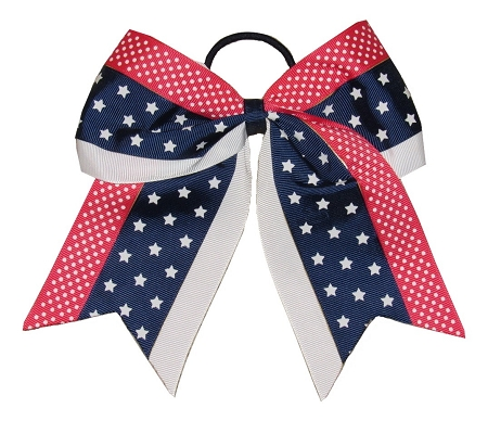 "New ""STARS & DOTS TRIO"" Cheer Hair Bow Pony Tail 3"" Ribbon Cheerleading Practice Football Games Uniform Hairbow 4th of July Patriotic"