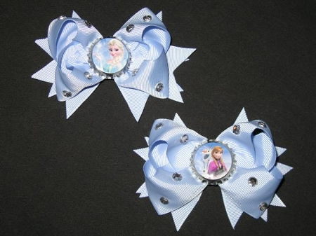 "NEW 2pc ""FROZEN - ELSA & ANNA"" Rhinestone Hair Bow Girls Ribbon Clip Disney Princess"
