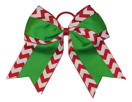 "NEW ""CHRISTMAS CHEVRON Grosgrain"" Cheer Bow Pony Tail 3"" Ribbon Girls Cheerleading"
