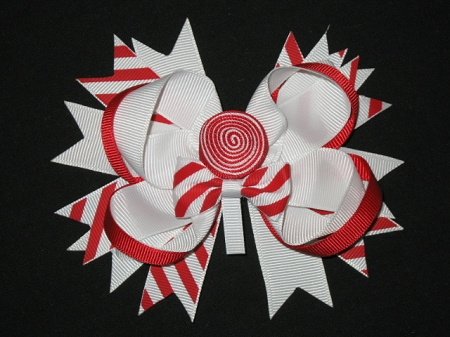 "NEW ""PEPPERMINT"" Lollipop Alligator Clips Girls Ribbon Sculpture Hair Bows Christmas Day Holiday Grosgrain Christmas Santa"