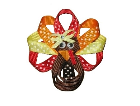 "NEW ""TURKEY CUTIE"" Ribbon Sculpture Girls Hairbow Clip Clippie Hair Bow Boutique Fall Thanksgiving Day Autumn"
