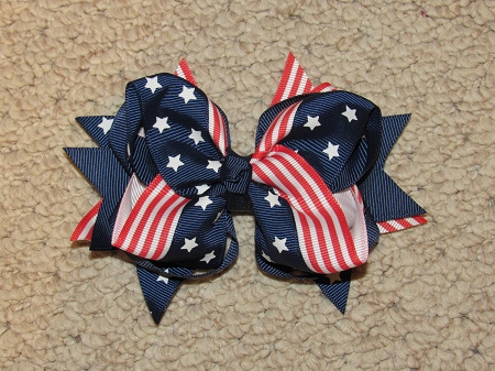 "New ""Stars & Stripes"" 4th of July Hairbow Alligator Clip Girls Ribbon Bow Boutique Fireworks USA Memorial Day Veteran's Day"