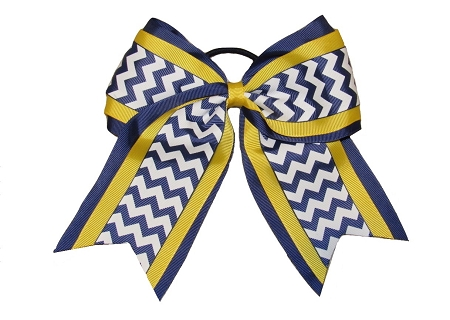 "New ""NAVY YELLOW CHEVRON"" Cheer Hair Bow Pony Tail 3 Inch Ribbon Girls Cheerleading Practice Football Games Uniform Hairbow Competition"