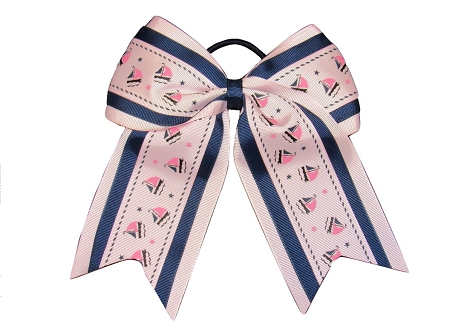 "NEW ""PINK SAILBOATS"" Cheer Bow Pony Tail 3 Inch Ribbon Girls Hair Bows Cheerleading Dance Practice Football Games Uniform Nautical Sailor"