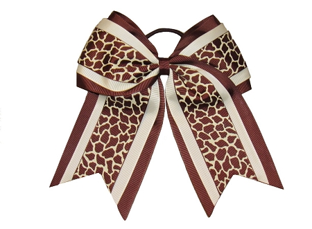 "New ""BROWN GIRAFFE"" Cheer Hair Bow Pony Tail 3 Inch Ribbon Girls Cheerleading Practice Football Games Uniform Hairbow Competition Zoo"