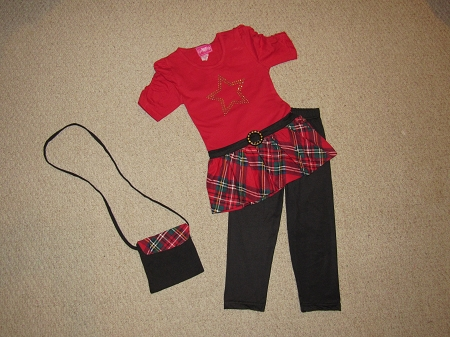 "NEW ""RED STAR"" Plaid Capri Pants Girls 4 Spring Summer Clothes Boutique Kids Purse Outfit"
