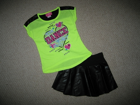 "NEW ""DANCE YOUR HEART OUT"" Skirt Neon Green Girls 4 Spring Summer Clothes Kids Boutique"