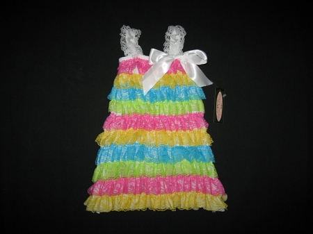 "NEW ""RAINBOW Lace"" Rumba Dress Girls 5/6 Spring Summer Clothes Boutique Easter"