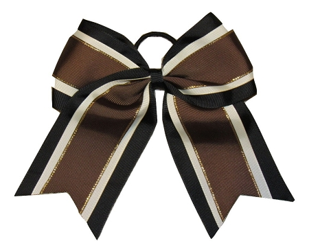 "NEW ""Brown & Black Glitz"" Cheer Bow Pony Tail 3"" Ribbon Girls Hair Bows Cheerleading Dance Practice Football Games Uniform Competition Fall"