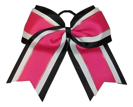 "NEW ""Pink & Black Glitz"" Cheer Bow Pony Tail 3"" Ribbon Girls Hair Bows Cheerleading Dance Practice Football Games Uniform Competition"