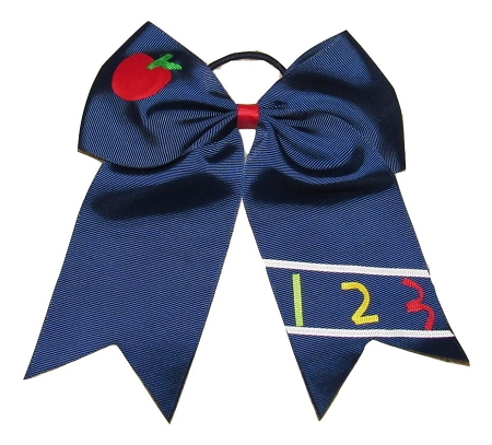 "NEW APPLE & 123"" Cheer Bow Pony Tail 3 Inch Ribbon Girls Cheerleading Dance Practice Football Games Uniform Back to School"
