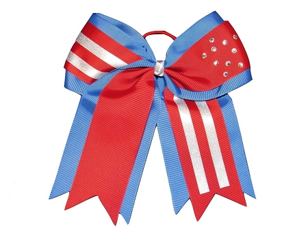 "NEW ""PATRIOTIC Bling"" Cheer Bow Pony Tail 3"" Ribbon Girls Hair Bows Cheerleading Dance Practice Football Games Uniform Competition USA"