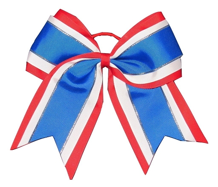 "NEW ""Blue & Red Glitz"" Cheer Bow Pony Tail 3"" Ribbon Girls Hair Bows Cheerleading Dance Practice Football Games Uniform Competition USA"