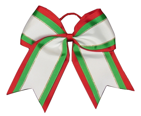 "NEW ""Christmas Glitz"" Cheer Bow Pony Tail 3"" Ribbon Girls Hair Bows Cheerleading Dance Practice Football Games Uniform Competition Holiday"