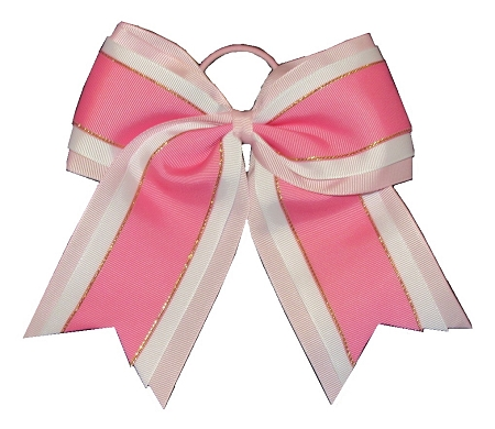 "NEW ""Pink & White Glitz"" Cheer Bow Pony Tail 3"" Ribbon Girls Hair Bows Cheerleading Dance Practice Football Games Uniform Competition"