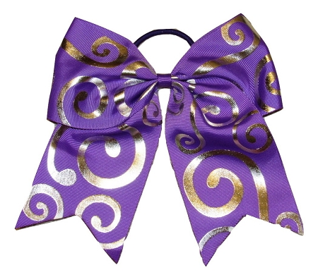 "New ""Silver Swirl PURPLE"" Cheer Bow Pony Tail 3"" Ribbon Girls Hair Bows Cheerleading Dance Practice Football Games Competition Birthday"