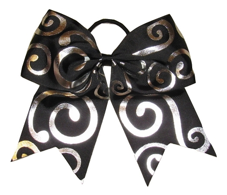 "New ""Silver Swirl BLACK"" Cheer Bow Pony Tail 3"" Ribbon Girls Hair Bows Cheerleading Dance Practice Football Games Competition Birthday Formal"