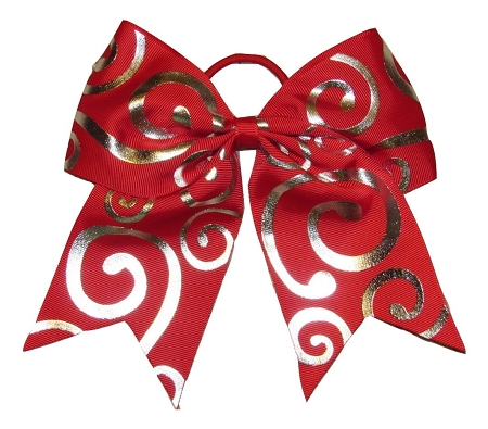 "New ""Silver Swirl RED"" Cheer Bow Pony Tail 3"" Ribbon Girls Hair Bows Cheerleading Dance Practice Football Games Competition Birthday Christmas"