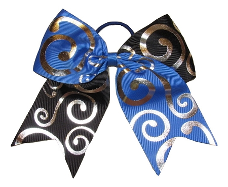 "New ""Silver Swirl BLUE & BLACK"" Cheer Bow Pony Tail 3"" Ribbon Girls Hair Bows Cheerleading Dance Practice Football Game Competition Birthday"