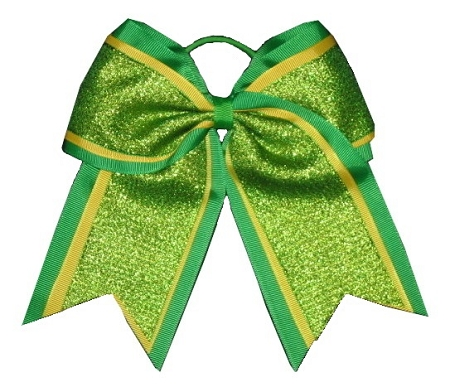 "NEW ""SHIMMER Green"" Cheer Bow Pony Tail 3"" Ribbon Girls Hair Bows Cheerleading Dance Practice Football Games Uniform Competition St. Patty's Day"