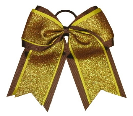 "NEW ""SHIMMER Brown"" Cheer Bow Pony Tail 3 Inch Ribbon Girls Hair Bows Cheerleading Dance Practice Football Games Uniform Competition Fall Festival Thanksgiving Day"