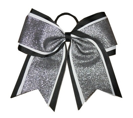"NEW ""SHIMMER Black"" Cheer Bow Pony Tail 3"" Ribbon Girls Hair Bows Cheerleading Dance Practice Football Games Uniform Competition Birthday"