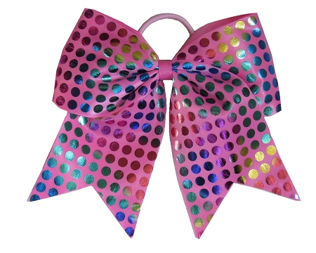 "NEW ""RAINBOW FOIL DOTS Pink"" Cheer Bow Pony Tail Ribbon Hair Bows Cheerleading Dance Rainbow Competition Birthday"