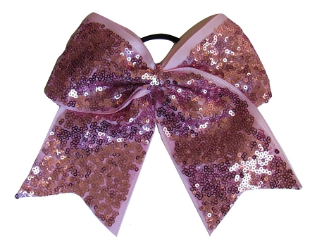 "New ""FANCY SEQUIN Pink"" Cheer Bow Pony Tail 3"" Ribbon Girls Hair Bows Cheerleading Dance Practice Football Games Competition Birthday"