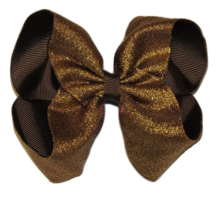 "New ""SHIMMERY BROWN"" Sparkly Hairbow Alligator Clips Girls Ribbon Bows 5 Inches Boutique Holiday Christmas Party Thanksgiving Day Fall"