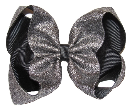 "New ""SHIMMERY SILVER/BLACK"" Sparkly Hairbow Alligator Clips Girls Ribbon Bows 5 Inches Boutique Holiday Christmas Party New Years Birthday"