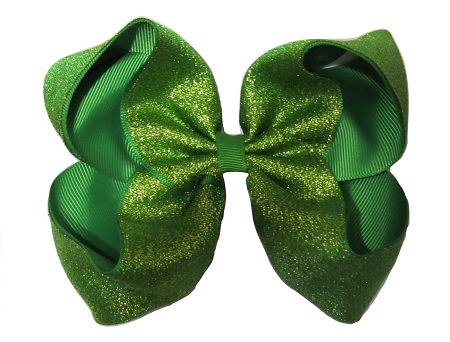 "New ""SHIMMERY GREEN"" Sparkly Hairbow Alligator Clips Girls Ribbon Bows 5 Inches Boutique Holiday Christmas Party St. Patty's Day Birthday"