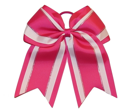 "NEW ""Hot Pink Glitz"" Cheer Bow Pony Tail 3"" Inch Ribbon Girls Hair Bows Cheerleading Dance Practice Football Games Uniform Competition"