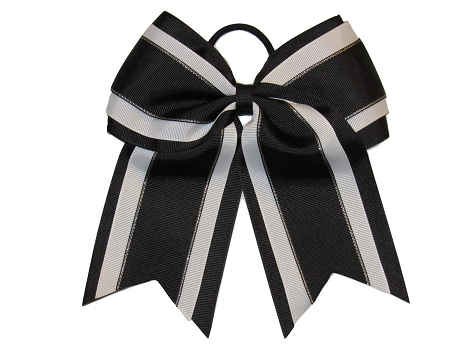 "NEW ""Black Glitz"" Cheer Bow Pony Tail 3"" Inch Ribbon Girls Hair Bows Cheerleading Dance Practice Football Games Uniform Competition"