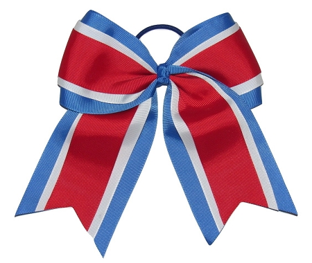 "New ""RED WHITE BLUE"" Cheer Hair Bow Pony Tail 3 Inch Ribbon Girls Cheerleading Practice Football Games Uniform Hairbow Competition USA Patriotic"