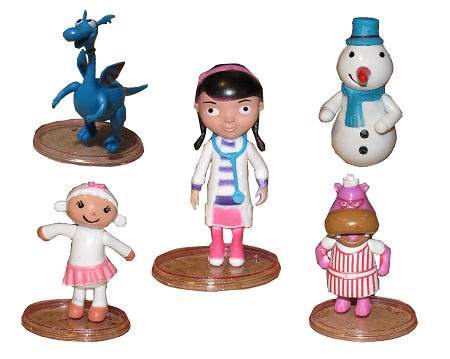 Doc McStuffins CAKE TOPPER Lambie Hallie Stuffy Chilly 5 Figure Set Birthday Party Cupcakes Figurines Disney * FAST Shipping * Toy Doll Set