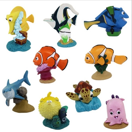 Finding Nemo CAKE TOPPER Marlin Finding Dory Squirt Bruce 9 Figure Set Birthday Party Cupcakes Figurines Disney * FAST Shipping * Fish Shark Turtle Toy Doll Set