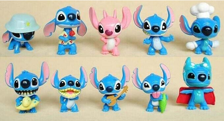 Lilo & Stitch CAKE TOPPER 10 Figure Set Birthday Party Favors Cupcakes 2 Inch Figurines Disney * FAST Shipping * Toy Doll Set
