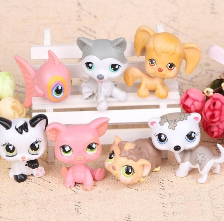 Littlest Pet Shop CAKE TOPPER Puppy Kitten Fish Pig LPS 7 Figure Set Birthday Party Cupcakes Mini Figurines * Fast Shipping * Zoo Animals Toy Doll Set