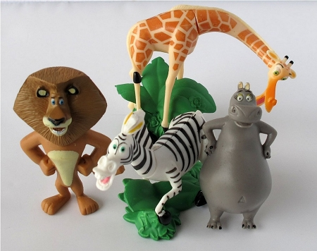 Madagascar CAKE TOPPER Alex Marty Melman Gloria 4 Figure Set Birthday Party Cupcakes Mini Figurines * FAST Shipping * Zoo Junglele Heads Toy Doll Set