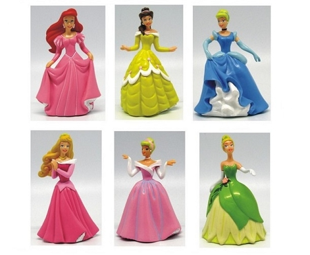 6 pc Disney Princess CAKE TOPPER Cinderella Belle Aurora Ariel Tiana 6 Figure Set Birthday Party Cupcakes Figurines Disney * FAST Shipping * Toy Doll Set