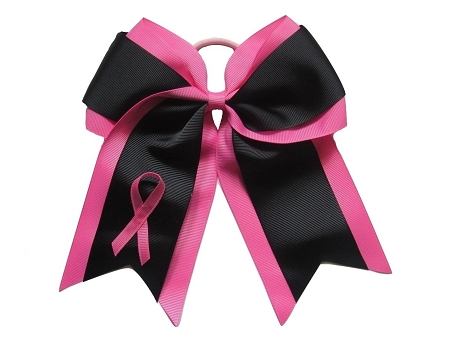 "NEW ""Black BREAST CANCER Ribbon"" Cheer Hair Bow Pony Tail 3 Inch Girls Cheerleading Practice Games School Uniform Hairbow Awareness Event"