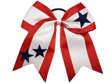 "New ""STARS TRIO"" Cheer Hair Bow Pony Tail 3"" Ribbon Cheerleading Practice Football Games Uniform Hairbow 4th of July Patriotic USA"