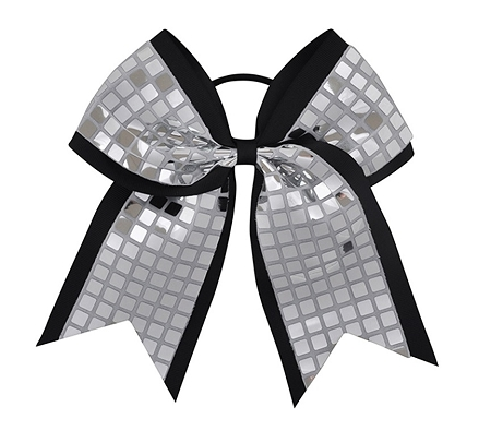 "New ""DISCO SQUARES Silver Black"" Cheer Bow Pony Tail 3"" Ribbon Girls Hair Bows Cheerleading Dance Practice Football Games Competition Birthday"