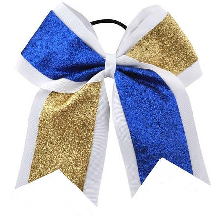 "New ""GLITTER DUO Blue & Gold"" Cheer Bow Pony Tail 3"" Ribbon Girls Hair Bows Cheerleading Dance Practice Football Games Competition Birthday"